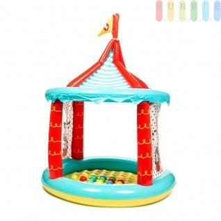 Zirkuszelt-Bällebad von Fisher Price, aufblasbar, 2 Öffnungen, Boden weich, 25Bälleinklusive, Maßeca.104x137cm