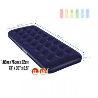 Luftbett / Gästebett von Bestway aufblasbar für 1 Person, beflockt, Vinyl-Boden, Coil-Beam-Constuction, blau