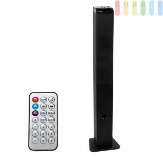 Party Lautsprecher mit LED-Diskolicht mit Farbwechsel, kompatibel mit PC, Tablet, TV + Audio, UKW-Radio, AUX-, USB- und Karten-Anschluß, Fernbedienung, Netz- + USB-Kabel