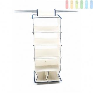 Schrank-Organizer aus Stoff für die Kleiderstange, Klettverschluss, 6Fächer, Größeca.70x29x29cm, Farbe Beige/Blau