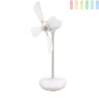 Mini-Tischventilatoren, ?ca.8cm, Höheca.21cm, Batteriebetrieb und USB-Kabel, Farbe Weiß