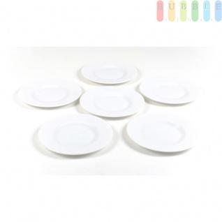 Vor- und Nachspeisen- bzw. Kuchen-Teller aus Opal-Glas, Serie Venere von Rocco Bormioli, 6 Stück, Ø ca. 21 cm, weiß