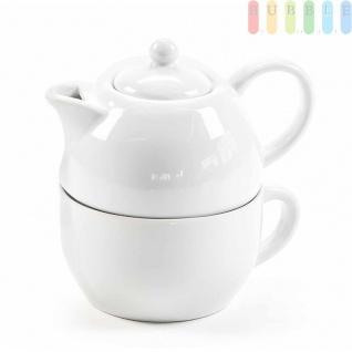 Tee-/Kaffee-Set von Alpina, Tasse mit Kanne, Porzellan, 175ml, 2-teilig, weiß