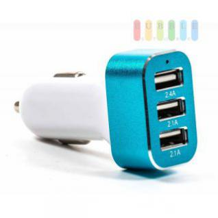 USB-Adapter/-Ladegerät ALL Ride für Zigarettenanzünder mit 3 USB-Buchsen, Alu-Design, 12/24V, 5V/6, 6A, weiß-blau