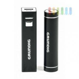 USB-Powerbank /mobiler Akku von Grundig mit Ladekabel, beleuchtet, 2200 mAh, lieferbar in eckig oder rund
