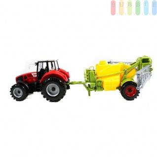 Traktor mit Anhänger von Gearbox, Friktionsantrieb, Bauernhof-Spielset, Länge ca. 44 cm, Farbe Rot