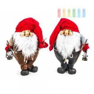 Weihnachtsmann / Nikolaus von Christmas Gifts, Laterne am Holzstab, Textil, Plüsch, Wichtel-Design, Höhe ca. 70 cm, 2 Modelle