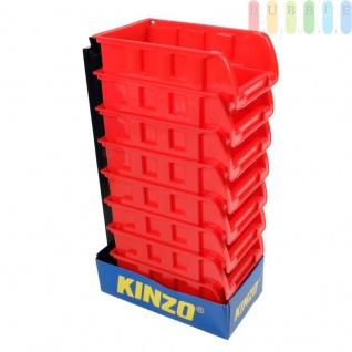 8 Stapelboxen mit Aufhängeschiene von Kinzo Storage, Kunststoff, ca. 10 x 16 cm pro Box, rot