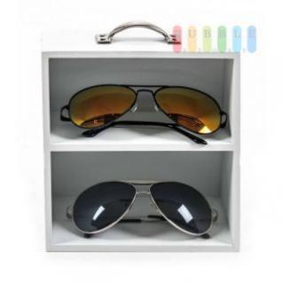 Brillen- / Miniregal mit 2 Ebenen von Homestyle, Vintage-Design, mit Griff und Schriftzug, Höhe ca. 17 cm, weiß