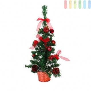 Künstlicher Weihnachtsbaum mit 20 LEDs, dekoriert mit je 3 Schleifen, Tannenzapfen, Weihnachtspäckchen, 7 Christbaumkugeln, Adventsdeko, rot