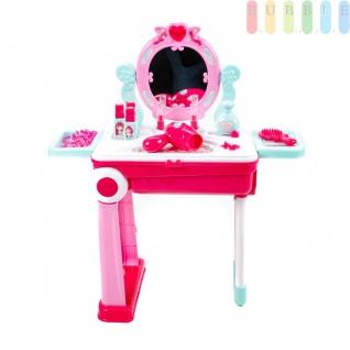 2 in 1 Kinder-Trolley mit Beauty-Spielset von EDDY TOYs, Schminktisch mit Spiegel, Licht- und Ton-Funktion, An/Aus-Schalter, 23 Teile, Batteriebetrieb