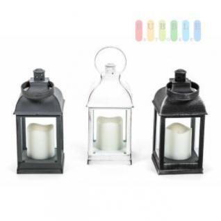 Laterne mit LED-Stumpen-Kerze von Arti Casa, Ein-Aus-Schalter, Ring zum Aufhängen, Kunststoff, Batteriebetrieb, Höhe ca. 22 cm, lieferbar in den Farben Schwarz, Weiß oder Grau
