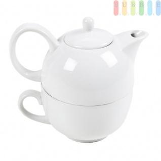 Tee-/Kaffee-Set von Alpina, Tasse mit Kanne, Porzellan, 475ml, 2-teilig, weiß