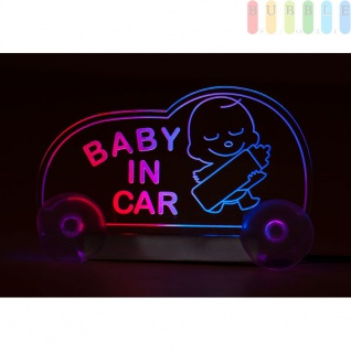 "LED-Leuchttafel ALL Ride "" BABY IN CAR"" tranparent/pink/blau mit Stecker, geschaltet, 12V"