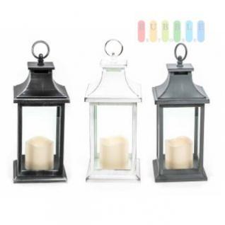 Laterne mit LED-Stumpen-Kerze von Arti Casa, Ein-Aus-Schalter, Ring zum Aufhängen, Kunststoff, Batteriebetrieb, Höhe ca. 30 cm, lieferbar in den Farben Schwarz, Weiß oder Grau