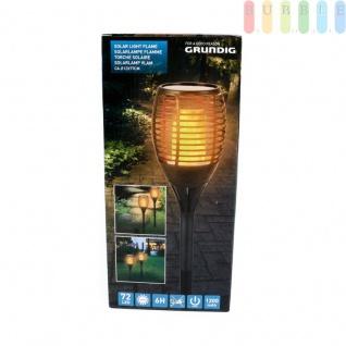 Solarlampe Flamme mit 72 warm, gelben LEDs von Grundig, Flammen-Optik, ca. 6 Std. Leuchtdauer, On/Off-Schalter, Höheca.76, 5 cm, Kunststoff, schwarz