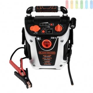 Jump It VG11 500AMP-Starthilfegerät von Black & Decker für 12 V Batterien mit 200W-Wechselrichter, USB- +12V-Steckdose, 120 PSI-Kompressor, Netzladeadapter, LED-Licht + Anzeige