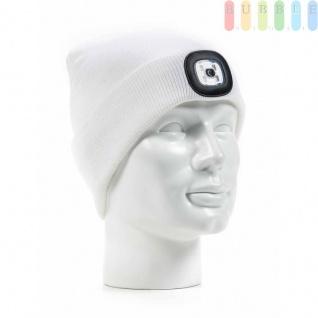 Strickmütze mit LED-Lampe, 4LEDs, 3Helligkeitsstufen, Licht abnehmbar, Mütze waschbar, Farbe Weiß