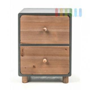 Mini-Kommode von Arti Casa aus Holz, 2 Schubladen, freistehend, moderne Landhaus-Serie in natur/grau, Größe ca. 21 x 12 x 29 cm