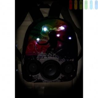 Disco-Kinderrucksack mit 6 LEDs von Party Fun Lights, 2Fächer, Gurte verstellbar, Batteriebetrieb, Höheca. 33, 5cm, Disco-Design