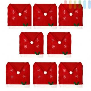 8x Weihnachtssitzbezug, weihnachtliche Stuhlhusse aus Filz in Form einer Weihnachtsmütze mit Bommel, Sternen, Stechpalmenblätter mit roten Beeren