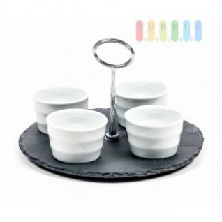 Snack-Set von Alpina mit 4 Keramik-Schalen und Schiefer-Etagere, Metall-Gestänge, Design modern-puristisch, Größe ca. 13 x 22 cm