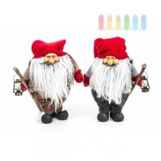 Weihnachtsmann / Nikolaus von Christmas Gifts, Laterne am Holzstab, Textil, Plüsch, Wichtel-Design, Höhe ca. 27 cm, 2 Modelle