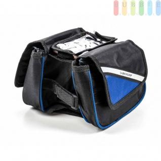 Fahrrad Rahmentasche von Dunlop, Handy-Tasche, Klett-Montage, Klett-Verschlüsse, reflektierendeStreifen, Größeca.20 x15 x15cm, Farbe Schwarz-Blau