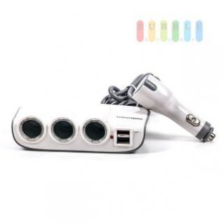Steckdose/USB-Adapter Grundig 3-fach, geschaltet, beleuchtet, Betriebskontrollleuchte, 2 x USB, 12/24V, 2A