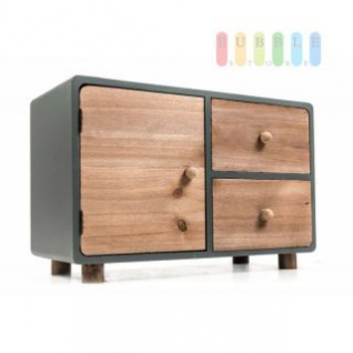 Mini-Kommode von Arti Casa aus Holz, 2 Schubladen, 1 Klappe, freistehend, moderne Landhaus-Serie in natur/grau, Größe ca. 34 x 15 x 22 cm