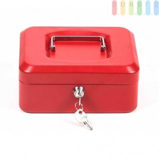 Geldkassette von Lock Down aus Metall abschließbar, Münzfach, 2Schlüssel, Maße20x16x9cm, rot