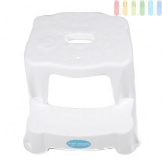 2 Tritt-Hocker für Kinder als Stehhilfe fürs Waschbecken und zum Sitzen, gummierte Füße, 2 Stufen, aufgeraute Stehfläche, Eingriff zum Tragen, leicht, Kunststoff, Tragkraft max. 45 kg, Farbe Weiß