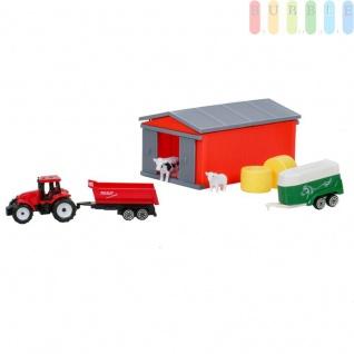 Kinderspielzeug Traktor, Trecker in rot mit Anhänger + Pferdetransporter mit Ladeklappe, Stall mit 4 Schiebetüren, Kuh, Schaf, 2 Strohballen
