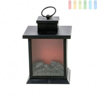 Kaminfeuerlampe in Laternenoptik von Grundig, Flacker-Effekt durch 3 LEDs, für Wohnzimmer, Wintergarten und Terrasse, Timer-Funktion, Batteriebetrieb