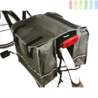 Doppel-Satteltasche für Fahrrad-Gepäckträger, wasserfest, Taschen mit reflektierendem Streifen, verschließbar, Rückwand verstärkt, grau