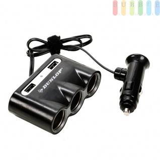 3-fach Zigarettenanzünder Verteiler mit 2 USB-Anschlüsse von Dunlop für PKW und LKW, Adapter mit Stecker für Zigarettenanzünderbuchse, Klebepad, 12/24 Volt, max. 8A