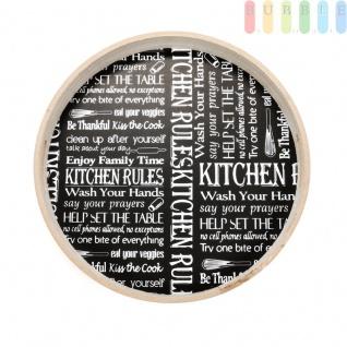 Serviertablett, rund, Abstellfläche schwarz mit weißer Schrift im Schultafel-Design, Tablett-Rand Furnierholz natur, ?ca.40 cm, Kitchen Rules