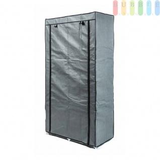 Faltkleiderschrank, 1Kleiderstange, 6Ablagen, werkzeugloseMontage, Größe 170x87x45cm, FarbeGrau-Schwarz