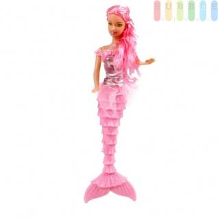 Meerjungfrau-Modepuppe von EDDY TOYs mit 2-teiligem Zubehör, Größeca.29cm, Farbe Pink