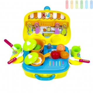 Kinder Spielzeug Koffer mit Tragegriff und viel Zubehör, Küchenspielzeug mit Herd und Waschbecken