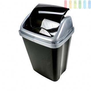Abfalleimer, Schwingdeckeleimer, Hochglanz-Kunststoff in schwarz / silber, dekorativer Abfallsammler, Mülleimer Volumen 26 Liter