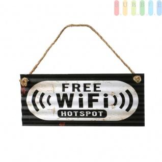 Blechschild FREE WiFi - HOTSPOT aus Wellblech im Retro-Design, mit Sisal-Seil, Vintage-Stil, Schild mit Spruch für Werkstatt, Gastronomie, Privat Indoor + Outdoor