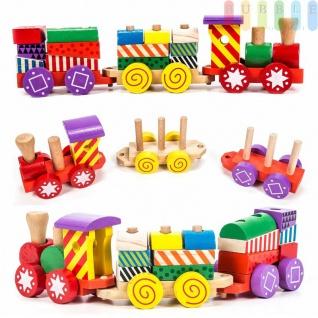 Holz-Eisenbahn-Spielset von Marionette mit 3Wagen und 14 Holzbausteinen, Steckverbindung, 17-teilig, bunt - Vorschau 2