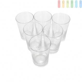 Trinkgläser 6er Set in puristischem Design, Gläserset mit verstärktem Boden und Rand, für Kaltgetränke, Glas Volumen ca. 250 ml