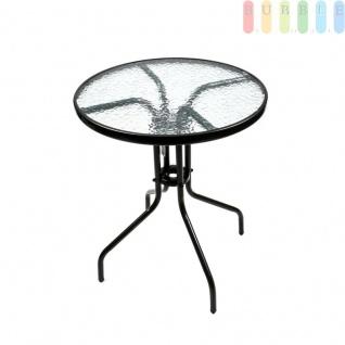 Glas-Tisch für Balkon, Garten und Terrasse, gewelltes Klarglas, Stahl, rund, ?ca. 60 cm, Höhe ca. 72 cm, schwarz