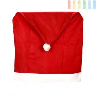 1x Weihnachtssitzbezug, weihnachtliche Stuhlhusse aus Filz in Form einer Weihnachtsmütze mit Bommel, Sternen, Stechpalmenblätter mit roten Beeren - Vorschau 5
