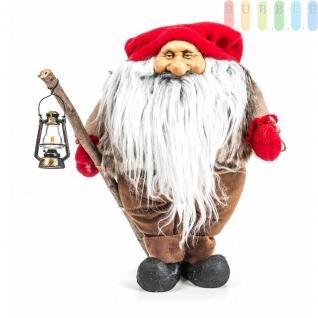 Weihnachtsmann / Nikolaus von Christmas Gifts, Laterne am Holzstab, Textil, Plüsch, Wichtel-Design, Höheca. 27 cm, Weihnachtsmann (Modell 2)