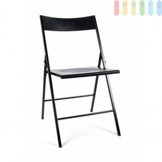 Klappstuhl, Metallrohrrahmen, Kunststoffflächen, Staumass gering, Design puristisch, Höheca.79cm, Farbe Schwarz