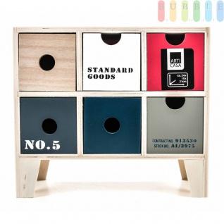 Mini-Kommode von Arti Casa aus MDF, 6Schubladen, 4Füße, Industrie-Design, freistehend, Höheca.21cm, kleine Mini-Kommode