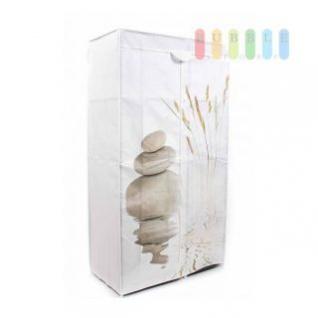 Faltkleiderschrank im Zen-Garten-Design, 1 Kleiderstange, 6 Ablagen, werkzeuglose Montage, Größe 160 x 88 x 45 cm, weiß
